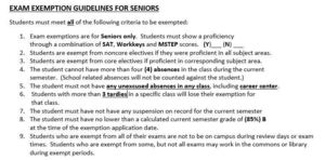 1st Semester Exam Exemption Guidelines