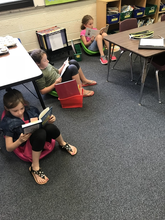 Reading using flexible seating