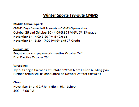 Winter CMMS Sport Try-out Information