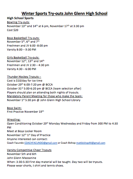JGHS Winter Sports Try-out information