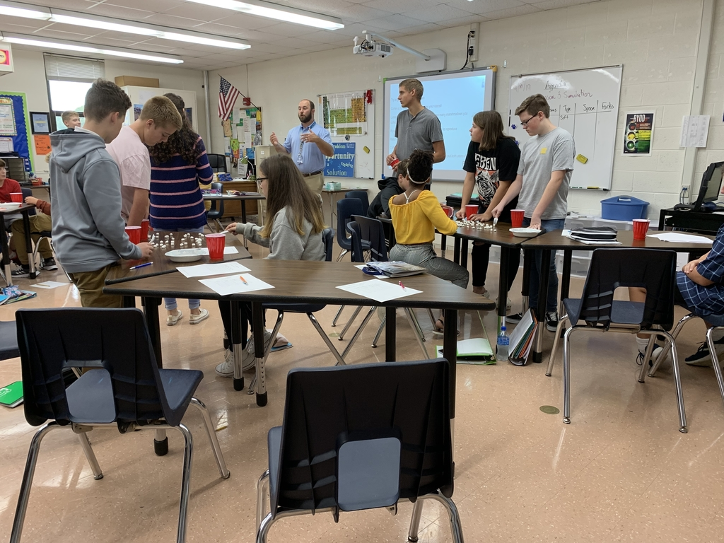 Mr. Kasemeyer's 4th hour class studying population using hands on activities and having FUN!