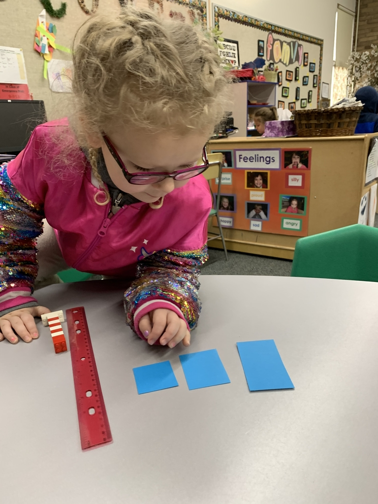 Serenity is measuring and comparing the size to her paper strips.